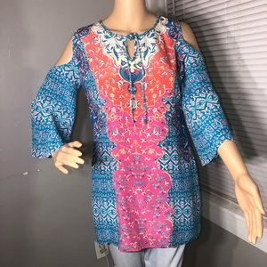 TOLANI Collection Printed Tunic Size S